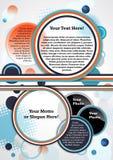 Den färgrika broschyren för vektorn med apelsinen, blått, mörker - slösa, vitregnbågen Royaltyfria Foton
