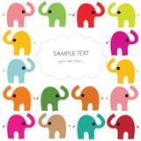 Den färgrika elefantvektorn behandla som ett barn hälsningkortet Arkivbilder