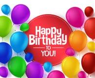 Den färgrika gruppen av den lyckliga födelsedagen sväller för parti vektor illustrationer