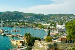 Den färgrika hamnen av Bodrum, Turkiet Fotografering för Bildbyråer