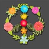 Den färgrika illustrationen för vektorn för sida- och blommafredtecknet, bohoblommor skrivar ut Royaltyfri Fotografi