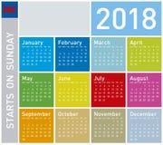 Den färgrika kalendern för året 2018, vecka startar på söndag Arkivfoto