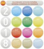 Den färgrika kalendern för året 2018, vecka startar på söndag Royaltyfri Foto