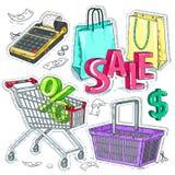 Den färgrika klistermärken, ställde in supermarket och handel, handelutrustningen, kassaapparaten och påsar Arkivfoto