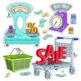 Den färgrika klistermärken, ställde in supermarket och handel, handelutrustningen, våg och shoppingspårvagnen Arkivbild