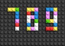 Den färgrika legoen numrerar 7, 8, 9 från plast- byggnadslegotegelstenar Färgrika vektorlegonummer Svart legobakgrund Fotografering för Bildbyråer
