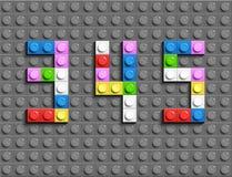 Den färgrika legoen numrerar 3,4,5from plast- byggnadslegotegelstenar Färgrika vektorlegonummer Grå legobakgrund Royaltyfria Bilder