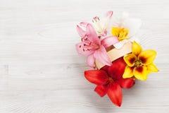 Den färgrika liljan blommar korgen Arkivbild