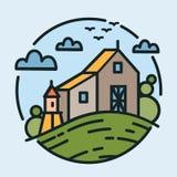 Den färgrika logotypen med härligt lantligt landskap och det jordbruks- byggnadsanseendet på kullen i den moderna linjen konst ut royaltyfri illustrationer