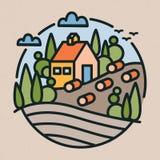 Den färgrika logotypen med lantlig eller bygdlandskap, lantgårdbyggnad, kullar och fältet i den moderna linjen konst utformar run stock illustrationer