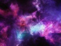Den färgrika nebulosan fördunklar med stjärnor i djupt utrymme Stock Illustrationer