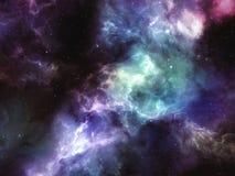 Den färgrika nebulosan fördunklar med stjärnor i djupt utrymme Vektor Illustrationer