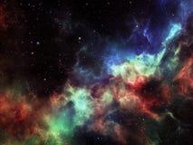 Den färgrika nebulosan fördunklar med stjärnor i djupt utrymme Royaltyfri Illustrationer