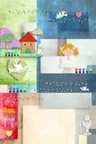 Card den första heliga nattvardsgången för den blonda flickan, inbjudan vertikalt Royaltyfria Bilder
