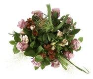 Den färgrika ordningen av rött och rosa färger blommar med gröna sidor Fotografering för Bildbyråer