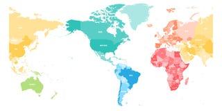 Den färgrika politiska översikten av världen delade in i sex kontinenter och fokuserade på Americas Tom vektoröversikt i regnbåge stock illustrationer
