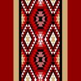Den färgrika röda vit- och svartaztecen smyckar den geometriska etniska sömlösa gränsen, vektor Arkivbild