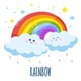 Den färgrika regnbågen och två gulliga moln i en tecknad film utformar Fotografering för Bildbyråer
