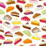 Den färgrika sötsaken bakar ihop sömlös bakgrund för skivor royaltyfri illustrationer