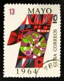 den färgrika siffran som ägnas till den Labour dagen 1st kan, circa 1964 Fotografering för Bildbyråer