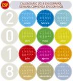 Den färgrika spanska kalendern för året 2018, vecka startar på söndag Fotografering för Bildbyråer