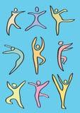 Den färgrika stiliserade dansen figurerar vektorsymbolsuppsättningen Royaltyfri Foto