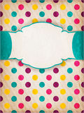 Den färgrika texturerade polkaen pricker design med etiketten royaltyfri illustrationer