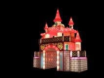 Den färgrika tyglyktan byggs som antik slott Arkivbild