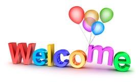 Den färgrika välkomnandet uttrycker med ballonger på vitbakgrund vektor illustrationer