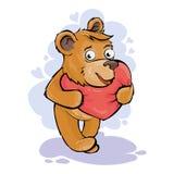 Den förälskade björnen har en röd hjärta Vektorillustration för dag för valentin` s royaltyfri illustrationer