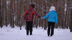 Den förälskade mannen och kvinnan går till och med den snöig vintern sörjer parkerar och skrattar Förhållanden av vuxna människor lager videofilmer