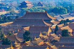 den förböd beijing porslinstaden roofs yellow Arkivfoto