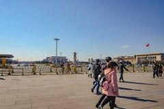 : Den förböd slotten med Unacquainted kinesiskt folk eller touristinen på beijing huvudstaden av porslinet, den förbjudna slotten royaltyfri fotografi