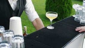 Den förberedda bartendern drinken med limefrukt och ger den till gästen lager videofilmer