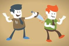 Den företags grabben får stabbed i backen royaltyfri illustrationer