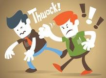 Den företags grabben har ett slagsmål med hans rival Arkivbild