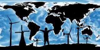 Den förnybara begreppsräddningen världen, vindturbin kartlägger på jorden arkivfoton