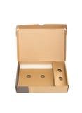 Den förpackande asken öppnar på vit Royaltyfri Foto