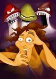 Den förskräckta personen som har en dålig psykedelisk tur på amanita eller psilocybe, plocka svamp och att lida narkotikaberoende. vektor illustrationer