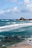 Den förstörda korsfarare`-hamnen är ett av de mest sceniska stadslägena av tunnlandet, Israel royaltyfria foton
