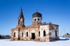 Den förstörda kyrkan Royaltyfria Bilder