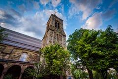 Den första kyrkan i Cambridge, i Cambridge, Massachusetts Arkivbilder