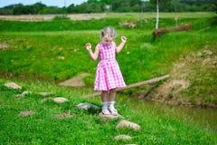 Den förtjusande lilla flickan som spelar vid ett damm i soligt, parkerar Royaltyfri Fotografi