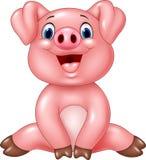 Den förtjusande tecknade filmen behandla som ett barn svinet som isoleras på vit bakgrund Arkivfoto