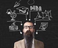 Den förvirrade mannen i exponeringsglas nära svart tavla med MBA skissar Royaltyfria Bilder