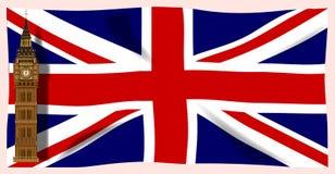 Den fackliga flaggan med Big Ben Royaltyfria Bilder