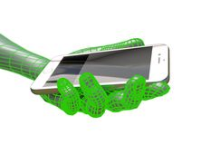Den faktiska manhanden som rymmer den realistiska smartphonen, isolerade illustrationen 3d Royaltyfria Bilder