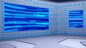 Den faktiska radioutsändningstudion med att kretsa abstrakt längd i fot räknatvideo- och gräsplanskärmområde lager videofilmer