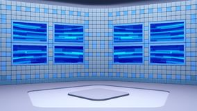 Den faktiska radioutsändningstudion med att kretsa abstrakt längd i fot räknatvideo- och gräsplanskärmområde arkivfilmer