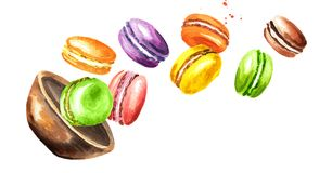 Den fallande traditionella fransmannen bakar ihop macaron eller makron, färgrika mandelkakor Dragen illustration för vattenfärg h vektor illustrationer